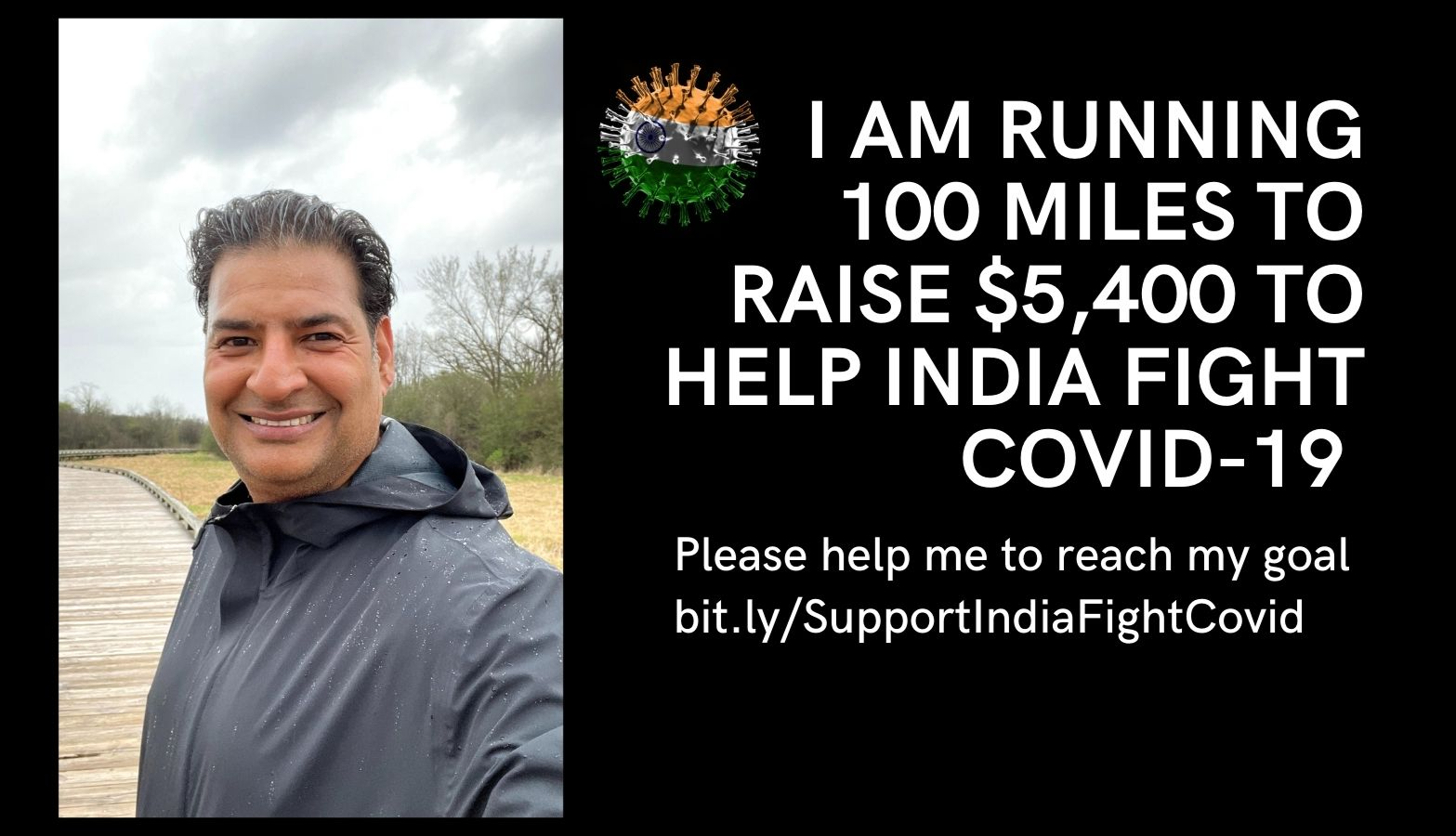 #TogetherForIndia - Rajneesh Sehgal is Running 100 miles to raise money to help India fight COVID-19