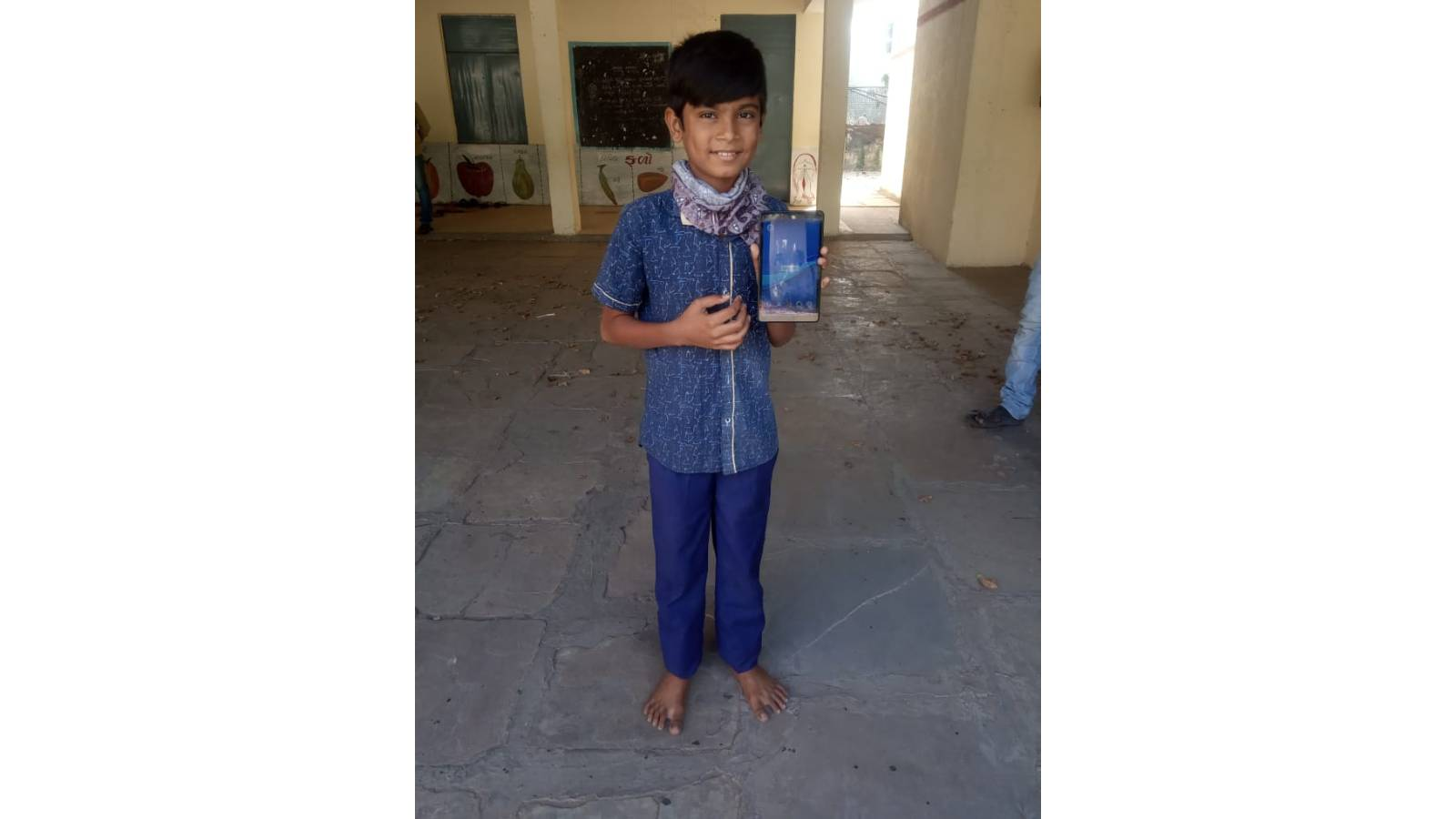 Poor & needy student with Tablet
