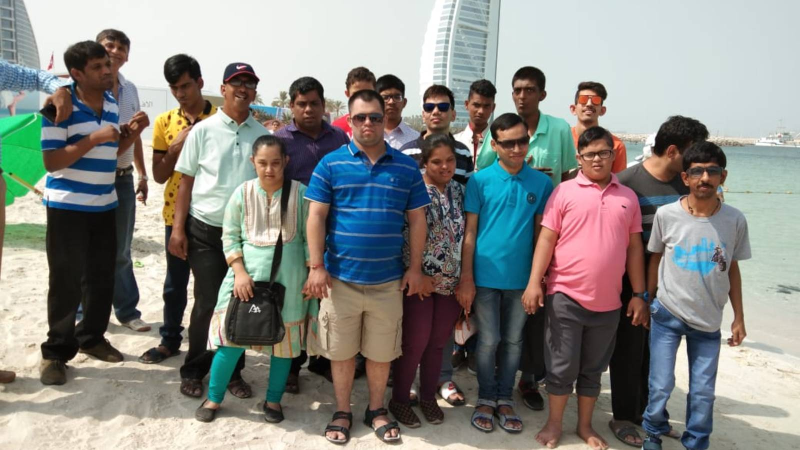 View of Dubai Ocean with Mentally Disabled.
