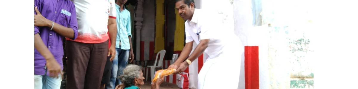We donate small aids of food ,groceries and rice to orphanages, Oldage homes and Knowing that the Unsupported on the roadside and  in the temples were struggling for food due to the curfew