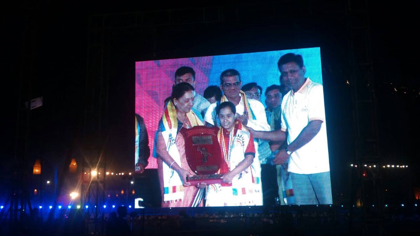 Memorable Moment for Our NGO-Receiving Award from Former CM Of Gujarat in Special Olympics.