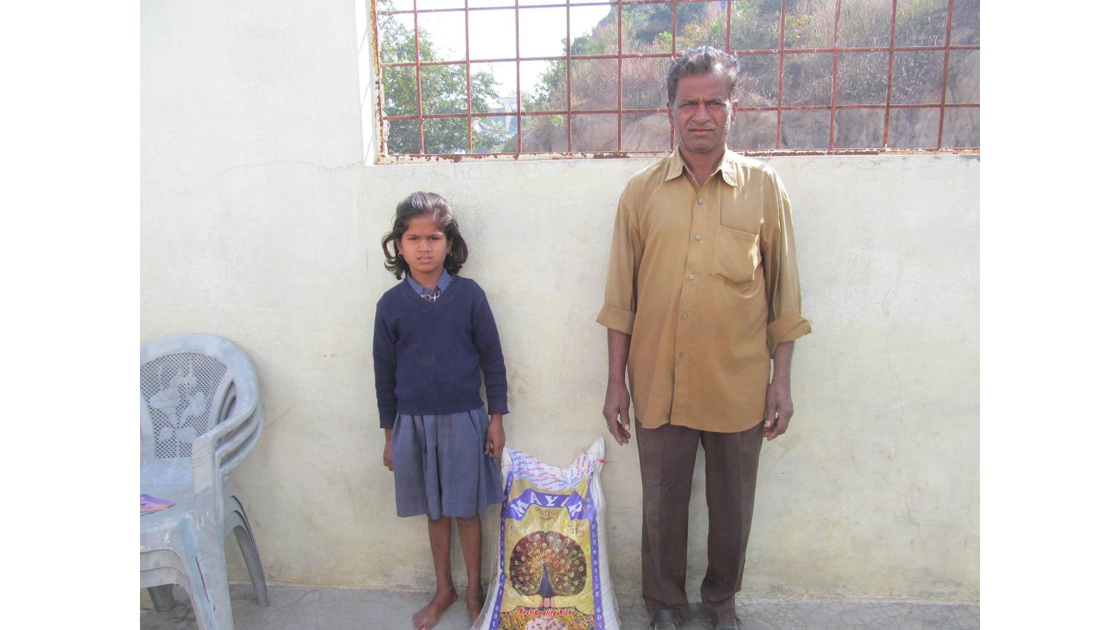 Groceries distribution to semi orphan child