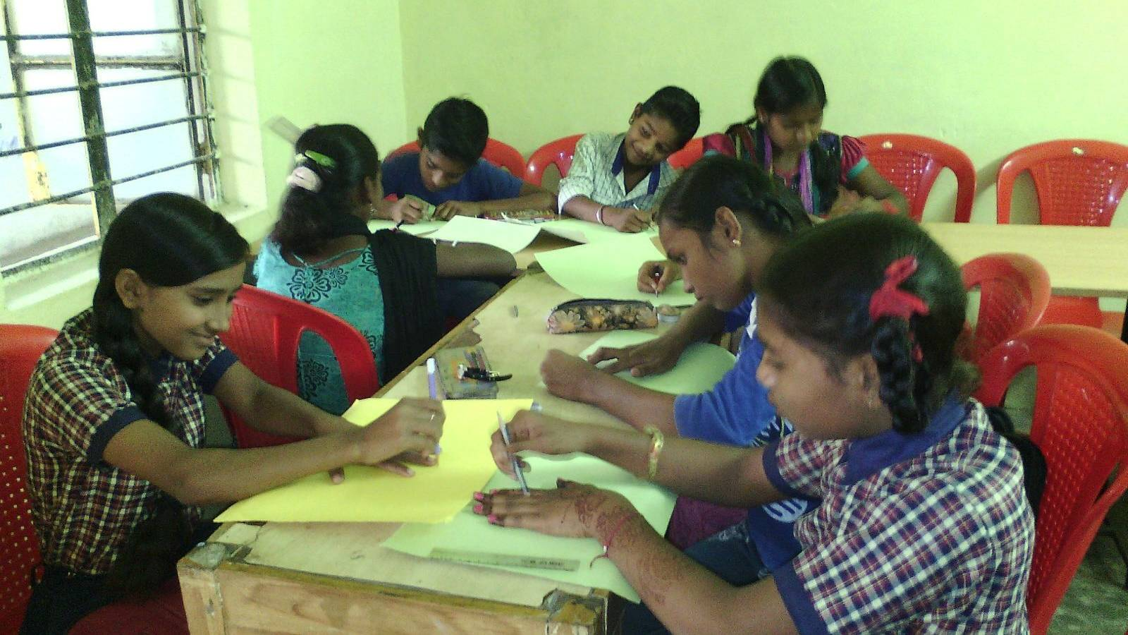 Rural poor background children Drawing competition